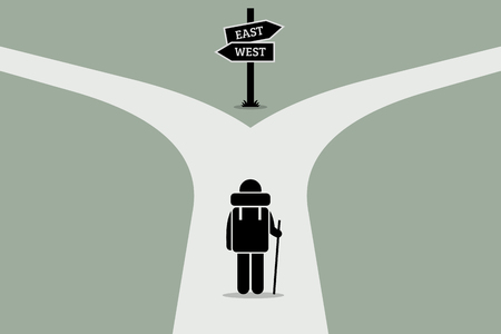 uncertain: Explorer reaching a split road trying to make decision on where to go next. Road sign showing different directions. Vector artwork depicts junction of life, decision making, and uncertain future.