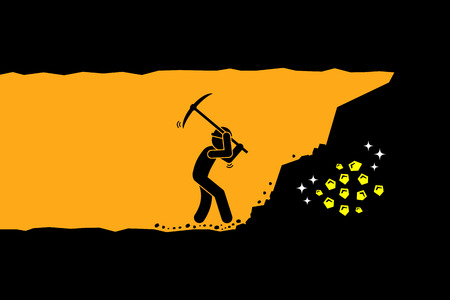 Person worker digging and mining for gold in an underground tunnel. Vector artwork depicts hard work, success, achievement, and discovery.