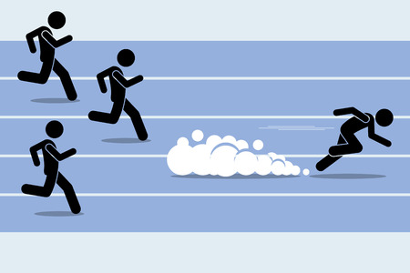 Fast runner sprinter overtaking everybody in a race track field event. Vector artwork depict winner, fastest, champion, and dominance. Stock Illustratie