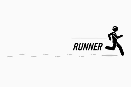 sport shoe: Runner runs and training in a outdoor running place leaving footprint behind. Simple stick figure and plain white background. Illustration