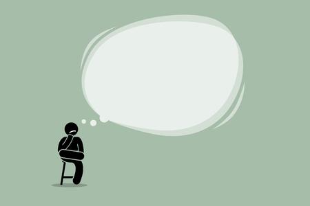 hombre pensando: Pensando en el hombre sentado en una silla con una gran nube de burbujas de vacío. Ilustraciones del vector representa el pensamiento, contemplar, idea, sabiduría y comprensión.