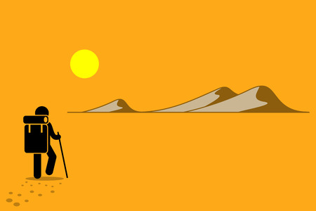 wanderer: Person with backpack and stick walking in the desert under the hot sun searching for adventure. Sand hill and mountain. Vector depicts expedition, exploration, pilgrimage, and odyssey, and challenges.