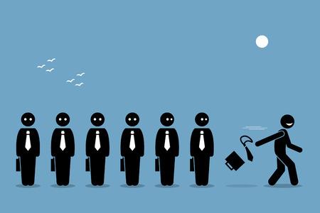 Empleado que renuncia a su trabajo desechando el maletín de negocios y la corbata, dejando atrás a todos los demás trabajadores aburridos. Las ilustraciones del vector representan la búsqueda de la felicidad.
