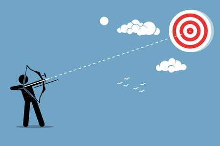 intent: Person using a bow to aim and shoot an arrow to a target in the sky. Vector artwork depicts ambition, mission, objective, success, and achievement.