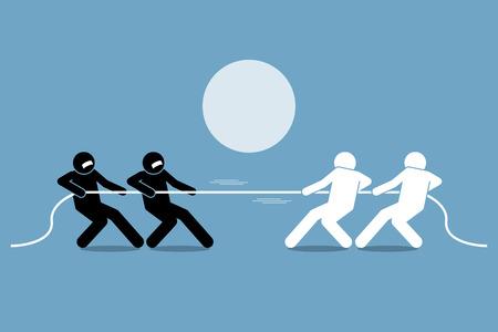 Tauziehen. Vector Grafik stellt Machtkampf, Wettbewerb und Opposition.