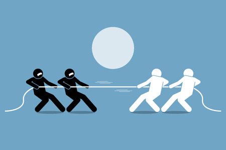 teammates: Tug of war. Vector artwork depicts power struggle, competition, and opposition.
