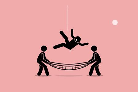 Człowiek spada w dół i uratowany przez ludzi za pomocą siatki bezpieczeństwa w dolnej części ziemi. Wektorowa grafika przedstawia bezpieczeństwo, bezpieczeństwo, ubezpieczenia, przyjaźń, pomoc i wsparcie. Ilustracje wektorowe