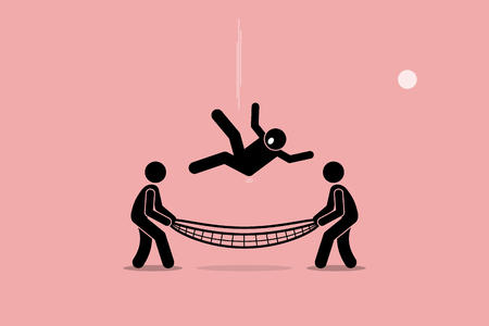 Man falling down and saved by people using safety net at the bottom of the ground. Vector artwork depicts safety, security, insurance, friendship, help, and support. Stock Illustratie