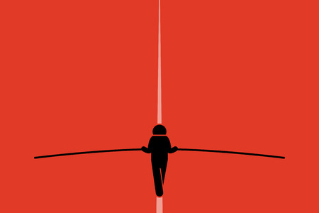 Tightrope walker walking and balancing on the wire with a long pole. He is taking risk and challenging himself doing the stunt. Simple vector background with copy space.