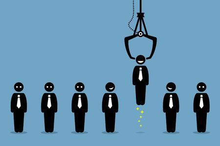 Job werven recruitment per bedrijf de werkgelegenheid. Werkzoekenden, werknemers en kantoormedewerkers worden opgepikt of uitgekozen door een spel klauw. Kandidaat is blij door het bedrijfsleven werkgever wordt gekozen. Stock Illustratie