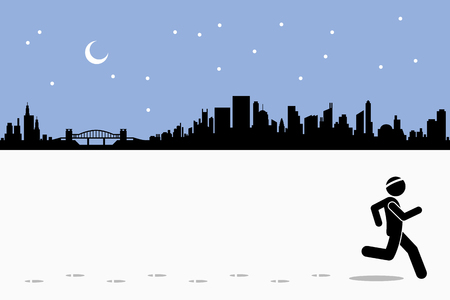 fitness: Runner runs while leaving footprints on the running field in city during night time. A cityscape at the back with moon and stars. Vector artwork depicts exercise, healthy lifestyle, and fitness. Illustration