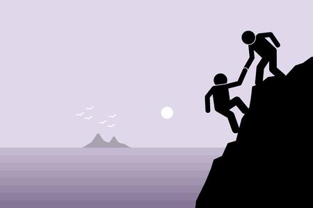 helping: Caminante ayudar a un amigo subiendo a un peligroso acantilado rocoso en la montaña tirando de él hacia arriba con la mano. Ilustraciones representan el apoyo amistad, el trabajo en equipo, la colaboración, la fe y la confianza.