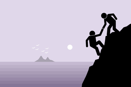 rocky: Hiker helping a friend climbing up on a rocky dangerous cliff at mountain by pulling him up with hand. Artwork depict friendship support, teamwork, partnership, faith, and trust.