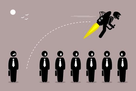 사업가 자신의 동료에서 제트 팩으로 멀리 비행입니다. 벡터 아트웍 경력 혁신, 개발, 향상, 개선 및 증가를 나타낸다.