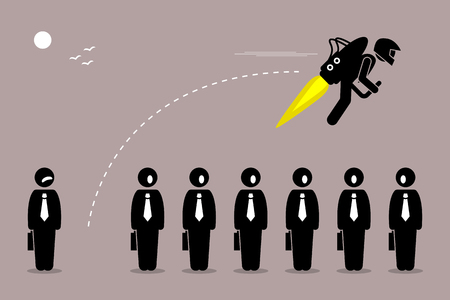 Businessman flying away with a jetpack from his colleague. Vector artwork depicts career breakthrough, development, boost, improvement, and rise. Vettoriali