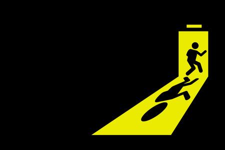Persona que salga de cuarto oscuro para salir al exterior a través de la puerta de salida de luz de color amarillo brillante de fundición sombra fuerte en el suelo. Los gráficos vectoriales representan concepto de escape, partida, fuera de control, para salir, y dejar de fumar.