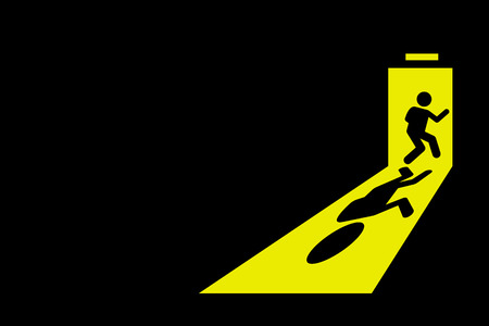 Person leaving dark room to go outside through exit door with bright yellow light casting strong shadow on the floor. Vector artwork depict concept of escape, getaway, runaway, getting out, and quit.