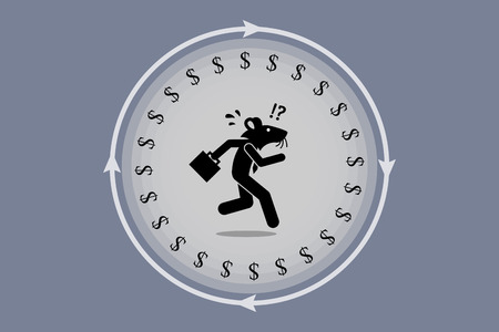 oblivious: Rat race. Businessman mouse running on a wheel searching for money. He is trap, confuse, stress, and tired but still working very hard to earn a living. Illustration