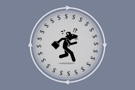 Ratten Rennen. Geschäftsmann Maus auf ein Rad für Geld auf der Suche ausgeführt wird. Er ist Falle, zu verwirren, Stress und müde, aber arbeiten immer noch sehr schwer ihren Lebensunterhalt zu verdienen. Standard-Bild - 63335697