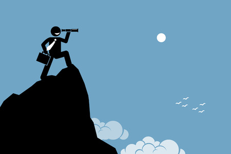 cliff edge: Businessman looking through a telescope on a high mountain ground. Vector artwork depicts ambition, vision, future, and discovery.