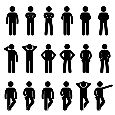 hand silhouette: Various Basic Standing Human Man People Body Languages Poses Postures Stick Figure Stickman Pictogram Icons Set