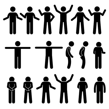 hands behind back: Various Body Gestures Hand Signals Human Man People Stick Figure Stickman Pictogram Icons
