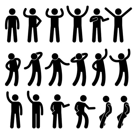 Various Standing Postures Poses Human Man People Stick Figure Stickman Pictogram Icons Vectores