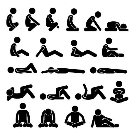 Vari Squatting Seduto disteso sul pavimento in posizioni Posizioni Uomo dell'uomo Persone Stick Figure Stickman pittogrammi Icone