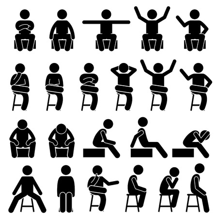 Sentado en la silla Plantea posturas hombre humano Personas Figura Stick Stickman pictograma Iconos Foto de archivo - 65860940