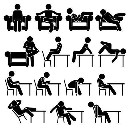 sit down: Sentado en la mesa de trabajo Sofá Sofá Tumbona Plantea posturas hombre humano Personas Figura Stick Stickman pictograma Iconos