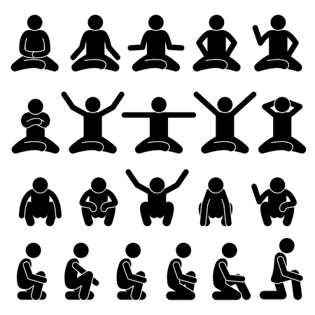 Human Man People Sitting and Squatting on the Floor Poses Postures Stick Figure Stickman Pictogram Icons Vettoriali