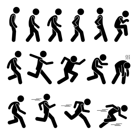 Various Human Man People Walking Running Runner Poses Postures Ways Stick Figure Stickman Pictogram Icons Ilustração