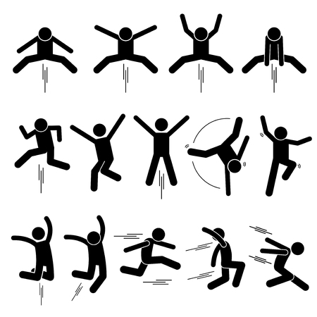 Various Jumper Human Man People Jumping Stick Figure Stickman Pictogram Icons Vectores