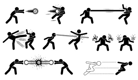 qi: Comic characters special powerful attack. These are super human releases fireball, elastic man with stretchy punch, thousand kicks, laser eyes, creating fire and ice element, and hyper speed moves. Illustration