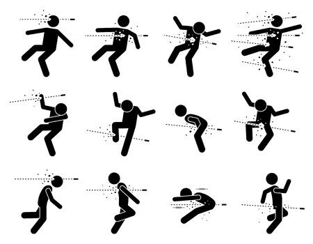 testiculos: El hombre alcanzado y muerto por la bala de bala en diferentes partes del cuerpo incluye la cabeza, el pecho, el corazón, el abdomen, mano, pierna, pene, parte privada, la espalda y los glúteos. Él está muerto y herido por el disparo de la pistola. Vectores