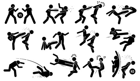 Street fighting attacking stance. Basic hits are punching and kicking. Powerful skills are flying kick, uppercut, throw, and knee knock. Dirty attacks include poking the opponent eyes and nut kick.