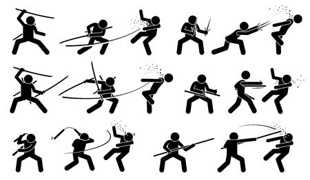melee: Man attacking opponent with traditional Japanese melee fighting weapons. These weapons include sword, sai, tonfa, nunchaku, and bo staff. Illustration