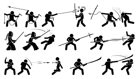 melee: Man attacking opponent with traditional Japanese melee fighting weapons. These weapons include kusarigama, kendo, magari yari, kunai, and glaive