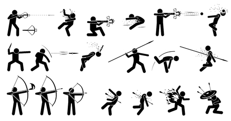 victim war: Man using medieval war hand held ranged weapons. Ancient weapons are crossbow, hand cannon, dagger, spear, fire arrow, long and short bow. It also shows the victim being killed by the weapons. Illustration