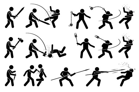 Man using medieval war weapons to attack. The ancient traditional weapons are sword, flail, war hammer, mace, dagger, and spear. It also shows the victim being killed by the weapons. Illustration