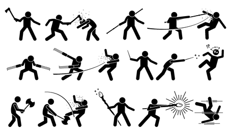 melee: Man using medieval war weapons to attack and fight. Ancient traditional weapons are axes, staff, claw, magic wand, battle axes, and wizard staff. It also shows the victim being killed by the weapons.