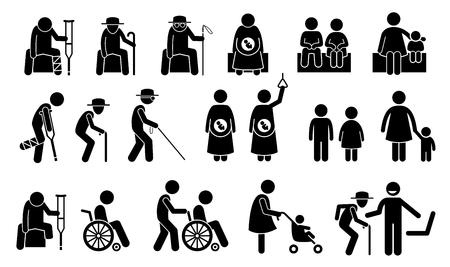 sentarse: Asientos reservados para personas de edad, jubilado, hombre ciego, mujer embarazada, niños, madre con el niño o bebé, adulto con el niño, discapacidad, discapacitados y personas heridas. silla de privilegio para las personas necesitadas. Vectores