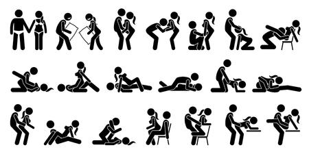 sexy nackte frau: Sexual Positions, Kamasutra oder Kamasutra und erotischen Vorspiel. Illustration