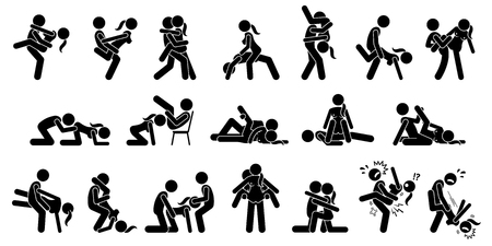 Extreme Sexual Positions, Dangerous Sex, Kama Sutra or Kamasutra. Illustration