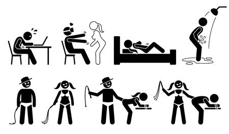 Masturbation, virtual reality for sex, BDSM, and sexual maniac. Illustration