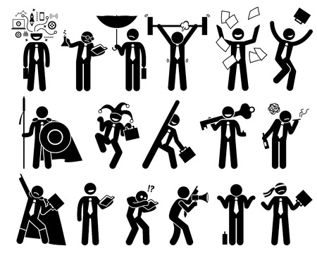 Businessman being various characters. The businessperson thinks of idea, being scientist, fighter, warrior, joker, clown, key person, alcoholic and superhero. He reads, do marketing, and gets freedom.
