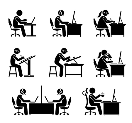 Empleado que trabaja con la computadora y la computadora portátil en la oficina. Estos trabajos incluyen programador, ingeniero de software, soporte, centro de llamadas, servicio al cliente, secretaria, servicio de asistencia, recepcionista, y el CEO. Ilustración de vector