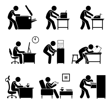 copy writing: Employees using office equipments in workplace. Worker making copy with photostat machine, printing with printer, receiving fax, using computer, designing, writing, and searching files inside cabinet. Illustration