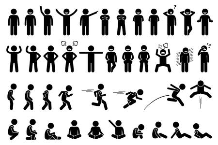 Enfants poses de base, des actions, des postures, des sentiments et des émotions. L'enfant est heureux, en colère, triste et pleurer. vues secondaires incluent marcher, courir, sauter, et assis. Banque d'images - 70331041