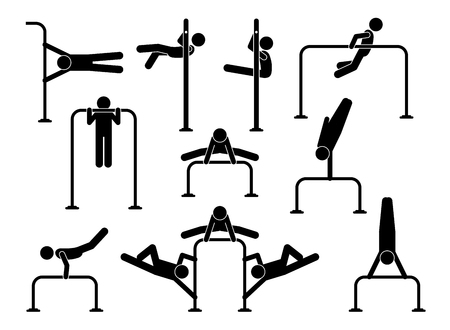 Urban street calisthenics. Athletes people workout on gymnastic exercises to get body fitness, flexibility, muscles, weight training, and strong health. The exercises uses gross motor movements. Illustration